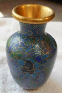 """Vintage Cloisonne Brass Bud Vase 4 """" tall floral design in ocean blues & greens"""