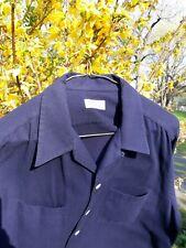 Vtg 1940s 1950s loop tab collar blue wool cotton shirt Large 16.5 collar 35 sl