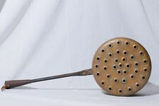 Vintage Hand Forged Solid Copper Lidded Chestnut Roasting Pan