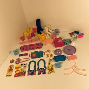 Lot of 80's & 90's Barbie Skipper Doll Shoes & Random Accessories Cardboard