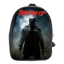Women Men Friday The 13th Jason Voorhees School Leather Backpacks Notebook Bags