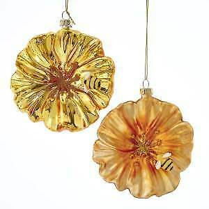 Set of 2  Glass Gold Petunia With Bee Ornaments w