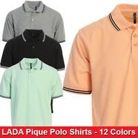 LADA Mens Regular Fit Short Sleeve Solid Pique Polo Shirts - 12 Colors