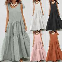 UK Womens Summer Beach Sleeveless Tank Sundress Casual Loose Kaftan Maxi Dresses
