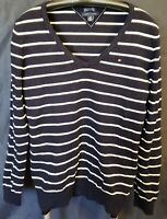 Tommy Hilfiger Women's Size Large Black/White Stripped V-neck Sweater