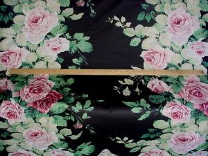 3-5/8 ROSE CUMMING DESIGN CABBAGE ROSE SOFT BLACK COTTON PRINT UPHOLSTERY FABRIC