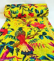 Indian Handmade Kantha Quilt Throw Reversible Bedspread Vintage Cotton Birds UK
