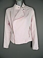 TOPSHOP/MOTO Biker Jacket Size 8 Pastel Pink Long Sleeved Zippers Coat