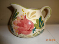 Handpainted Portugal Pottery Floral Design Pitcher