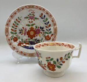 Meissen Tischenmuster Cup & Saucer Imari Style Square Handle Antique