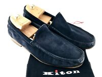 KITON Loafers Men's 8.5 Suede Navy Blue Slide On Driving Shoes Casual Dress SOFT