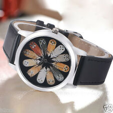FASHION WOMEN CASUAL WATCH ANALOG LETTER OWL PRINT LEATHER QUARTZ WRIST WATCH
