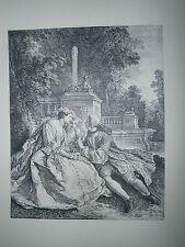 Planche gravure Le jeu du pied de boeuf d'aprés J.F. de troy 1735