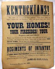 Civil War Recruiting Poster, Kentuckians, Kentucky, Confederate, South