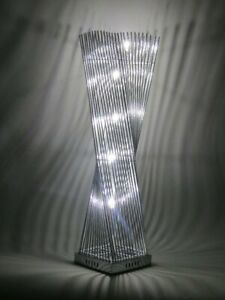 Cayan Tower Twisted Prism Silver Metal Wire Table Cylinder Tower LED Lamp Chrome