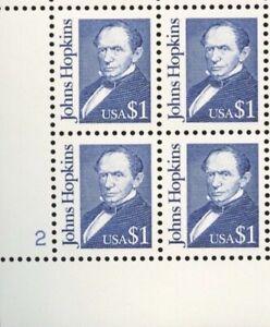 US #2194 MNH Plate Block CV$15.00 1989 Johns Hopkins [LL #2]