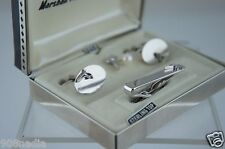 VINTAGE ART DECO SWANK STERLING SILVER TOP CUFFLINKS,PIN & TIEBAR/CLASP BOXED