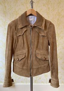 PINKO butter soft suede zip front camel biker jacket 40 UK 8 buckle & zip cuffs