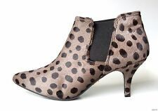 new Pour La Victoire 'Anabella' grey animal-print PONY HAIR ANKLE BOOTS 8
