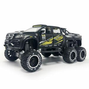 1:28 X-Class 6x6 Pickup Truck Big Foot Model Car Diecast Toy Vehicle Black Kids