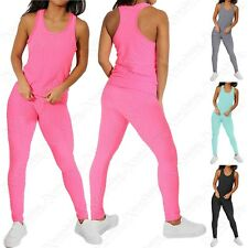 LADIES 2 PIECE BODY ENHANCING ANTI CELLULITE VEST TOP AND LEGGINGS GYM SET
