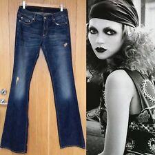 SEVENTY jeans Bootcut Blu LOOK EFFETTO ANTICATO MISURA 42 Regno Unito 8 Bnwts
