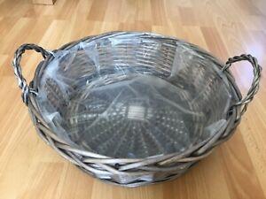 Large Round Wicker Basket/Hamper - Grey