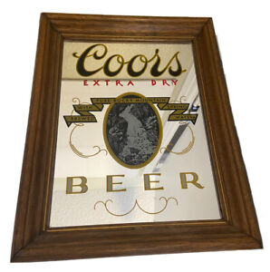 """Vintage COORS Extra Dry BEER Large Mirror Wood Framed Bar RARE 13""""x10"""""""