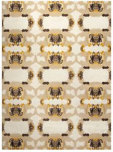 Abstract Eskayel-Culebra Rug in Beige, Brown and Yellow N10119