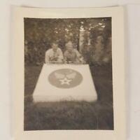 "Vtg WWII Photograph Air Force Airmen Posing at Base w/ Insignia 3"" x 2.25"" B&W"