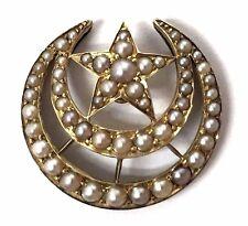 Antique Victorian Era 14K Gold Graduated Pearl Crescent Moon & Star Pin/Pendant