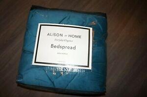 Alison home everyday elegance teal blue bedspread 260x250cm soft velvet pintuck
