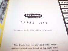 Towmotor Models 540 600 670 680 P Lift Truck Forklift Parts Catalog Manual