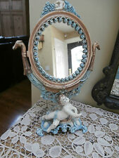 Vintage Iron Art Table Top Cherub Swivel Make Up Vanity Mirror Or Display