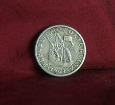 1963 Portugal 2 1/2 Escudos World Coin Rare Ship Shield KM590
