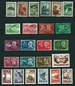 Hungary 1936-1949  Air Post Stamps (21 Used & 3 Mint Hinged)
