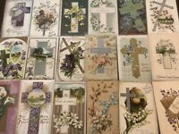 "LOT of 20 BEAUTIFUL Antique~"" EASTER CROSSES"" with Flowers CROSS POSTCARDS-a867"
