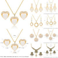 Rhinestone Necklace Earrings Pendant Pearl Crystal Women Wedding Jewelry Set