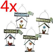 4 X BIRD HOUSE GARDEN WELCOME SIGN DECORATION METAL TIN GARDENING DESIGN HANGING