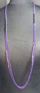 Long Purple And Crystal Stone Multi Strand Necklace