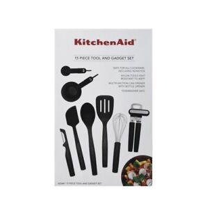 KitchenAid 15-piece Kitchen Tool & Gadget Set in Black Cooking Utensil Sets NIB