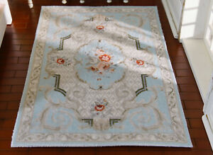 Shabby Chic Pastel Blue French Country Swirls Floral 1/12 Dollhouse Rug