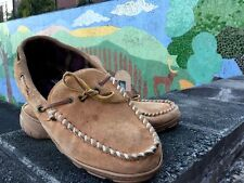 CLARK'S Suede Leather LOAFERS Moccasin Slippers Flannel Lined  Mens Shoes Sz 10