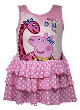 CON LICENCIA Peppa Pig Vestido De Algodón Para Niñas en rosa sin mangas