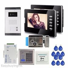 "Apartment 2 Units 7"" Video Doorphone Intercom System+ Electric Lock+RFID Control"