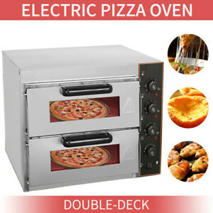 ELECTRIC 3KW DOUBLE DECKER STONE BASE PIZZA OVEN COMMERCIAL FIRE STONE UK PLUG