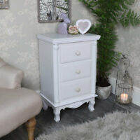 Grey white 3 drawer bedside chest shabby vintage chic French bedroom furniture
