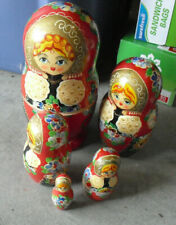 "Vintage Wood Hand Painted Women People Russian 5 Pc Nesting Dolls 5"" Tall"