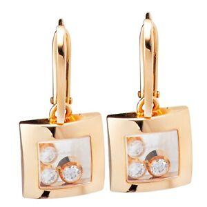 Chopard Happy Diamonds Happy Curves Rose Gold & Diamond Square Earrings 83/9224