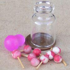 1:12 Scale Glass Jar Of Loose Strawberry Lollipops Tumdee Dolls House Sweet Shop